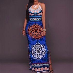 Blue Patterned Halter Maxi Dress